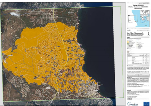 Figure 10: A satellite image recorded on 23 July 2018 by Sentinel-2 and processed by Copernicus Emergency management Service, indicating the fire expansion to Neos Voutzas, Mati and Rafina areas. (COPERNICUS EMSR300, 2018). 70% of Mati was burned. (Source: https://www.preventionweb.net/files/66718_f448karmaetalchallengesandlessonsle.pdf)