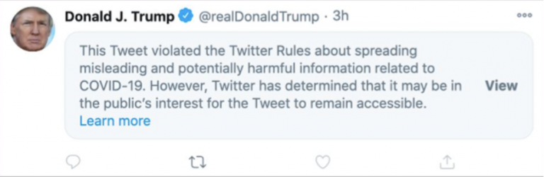 Figure 3: Censored tweet of President Donald Trump. Adapted from Spring, M. (2020, October 06). Trump Covid post deleted by Facebook and hidden by Twitter. Retrieved December 10, 2020, from https://www.bbc.com/news/technology-54440662