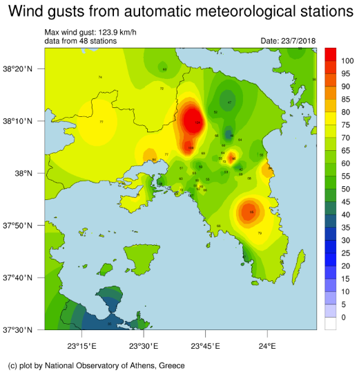 Figure 4: Wind Gusts in Attica, 23rd July 2020. Reference 16.