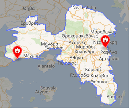 Figure 5: Map of Kineta and Rafina