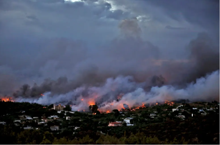 Figure 9: Smoke plumes in Rafina, Greece. (Source https://www.insider.com/greece-wildfire-outside-athens-worst-since-2007-at-least-50-dead-2018-7)