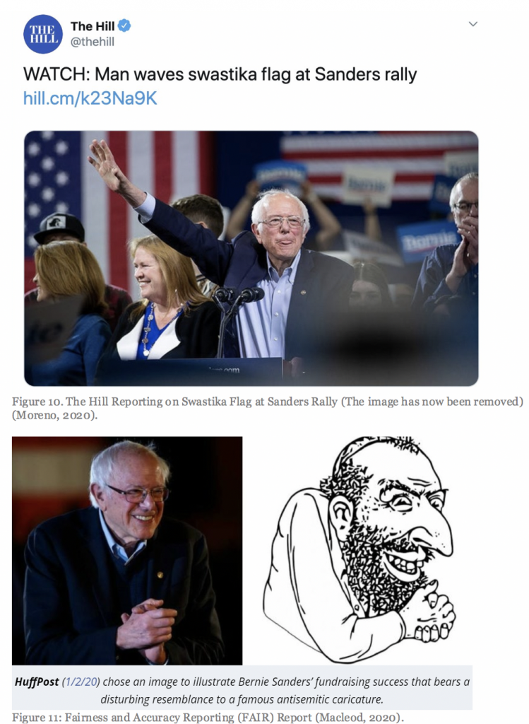 Figure 10: The Hill reporting on Swastika flag at Sanders rally. (The image has now been removed.) (Moreno, 2020); Figure 11: Fairness and Accuracy Reporting (FAIR) Report (Macleod, 2020)