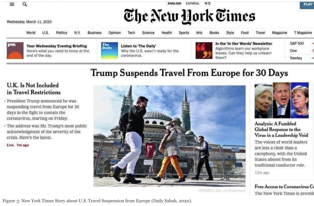 Figure 3: New York Times story about U.S. travel suspension from Europe (Daily Sabah, 2020)