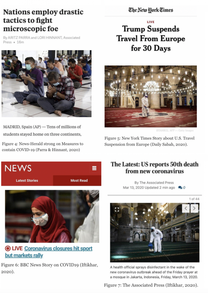 Figure 4: News-Herald story on measures to contain COVID-19; Figure 5: New York Times story about U.S. travel suspension from Europe (Daily Sabah, 2020); Figure 6: BBC News Story on COVID-19 (Iftikhar, 2020); Figure 7: The Associate Press (Iftikhar, 2020).