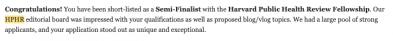 Screenshot of HPHR Semi-Finalist Letter