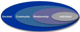 A graphic showing the socio-ecological model of public health.