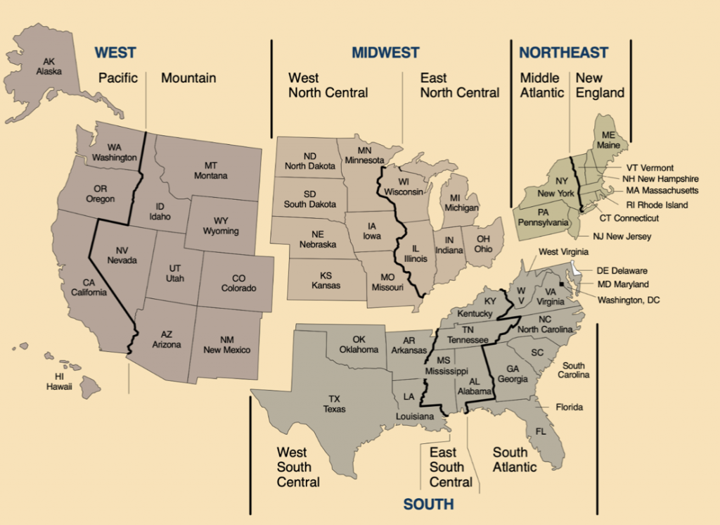 Map showing the different regions of the US and the 17 states comprising the American South (Texas, Oklahoma, Arkansas, Louisiana, Mississippi, Tennessee, Alabama, Kentucky, Georgia, Florida, South Carolina, North Carolina, Virginia, West Virginia, Maryland, Delaware, Washington, DC)